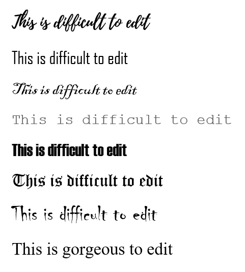 Fonts for editing